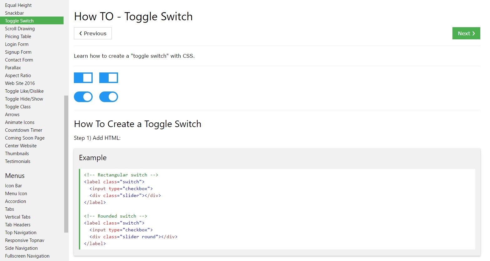 How to  produce Toggle Switch
