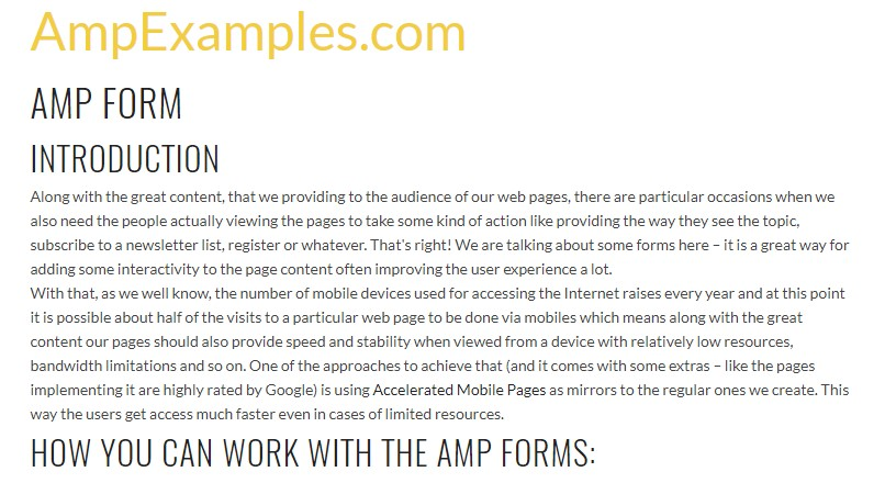 Let us examine AMP project and AMP-form  component?