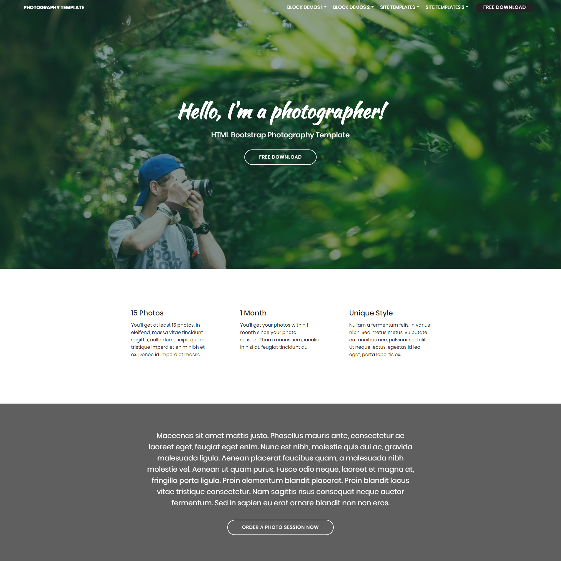HTML5 Bootstrap Photography Templates