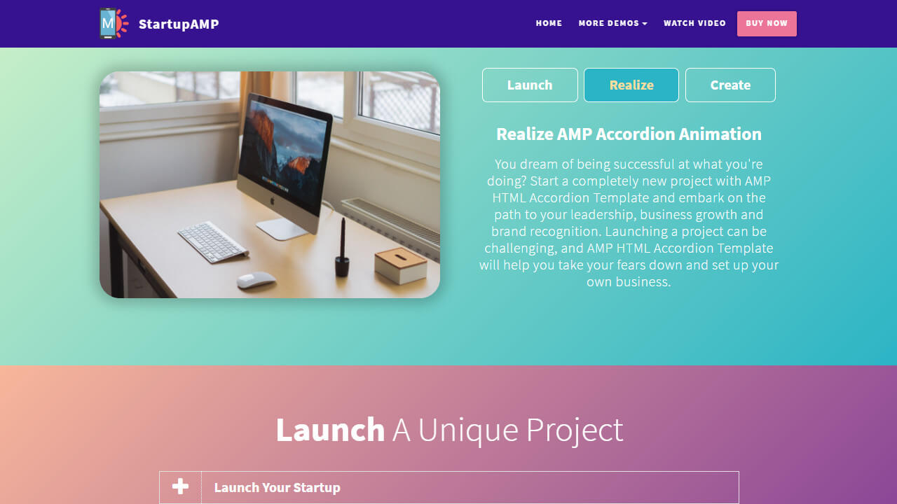 AMP HTML Tabs & Accordions Template