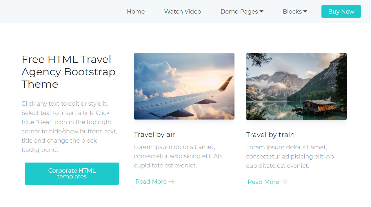 Free HTML Travel Agency Bootstrap Theme